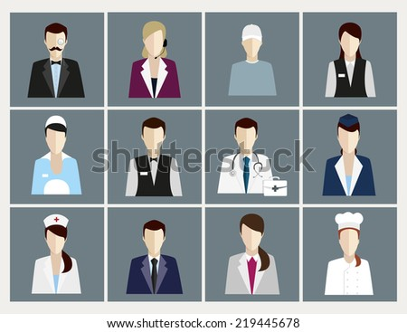 vector icons of people with occupations - stock vector
