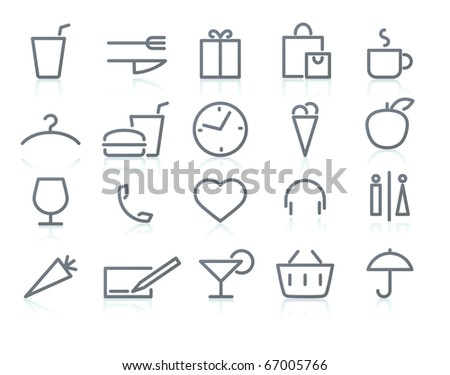 Vector icons of  shopping and lifestyle items - stock vector