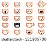 Vector icons of smiley cat faces - stock vector