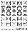 Vector icons of smiley faces - stock photo