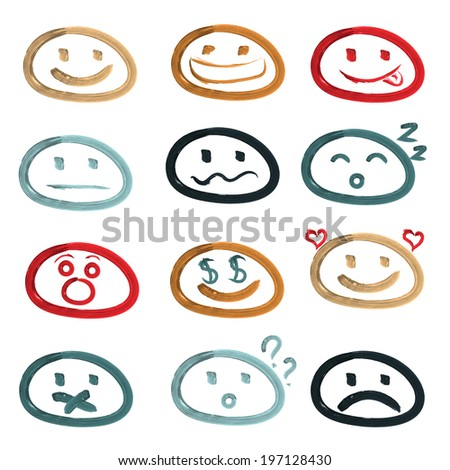 Vector icons of smiley faces. Set of dfferent emotions. - stock vector
