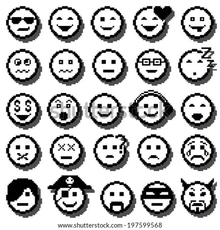 Vector icons of smiley faces. Set of different emotions. Pixel art. - stock vector