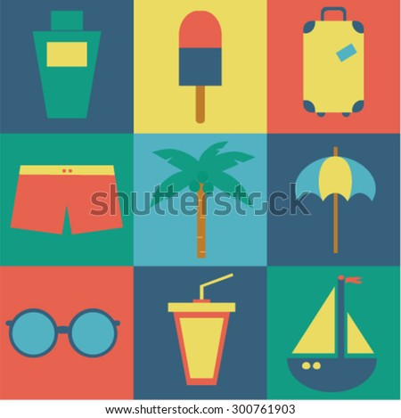 Vector icons of summer travel