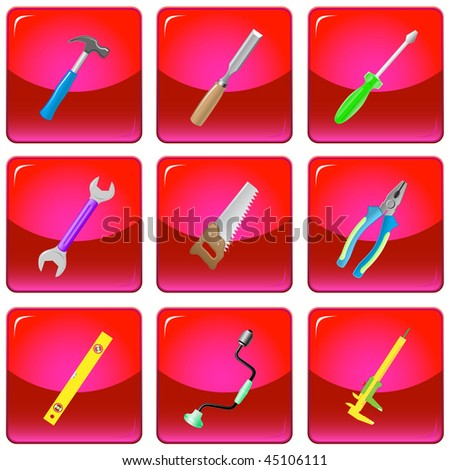 vector icons of tools - stock vector