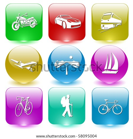Vector icons of transport - stock vector