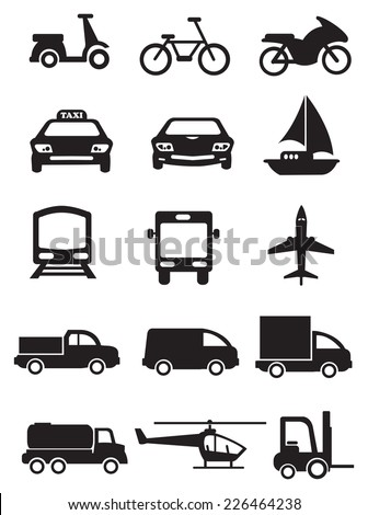 Vector icons of vehicles for different mode of transportation. Black icons isolated on white background. - stock vector