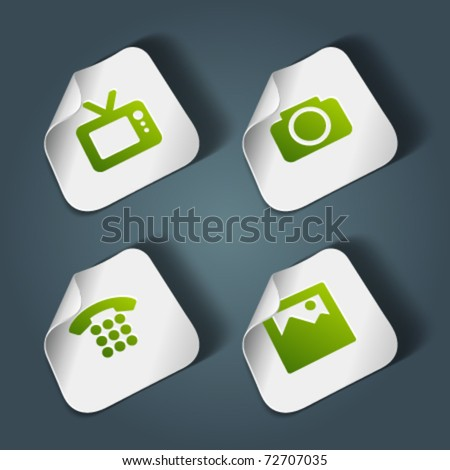 Vector icons on stickers set 4. Transparent shadow easy replace background and edit colors. - stock vector