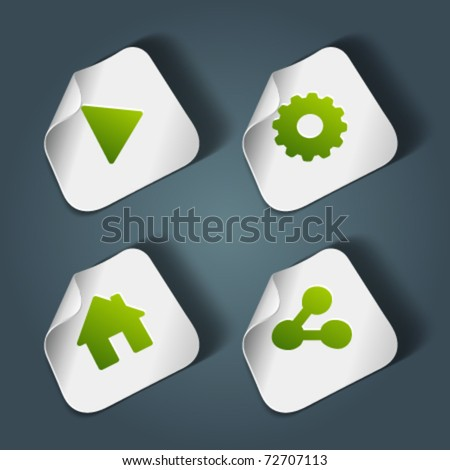 Vector icons on stickers set 1. Transparent shadow easy replace background and edit colors. - stock vector
