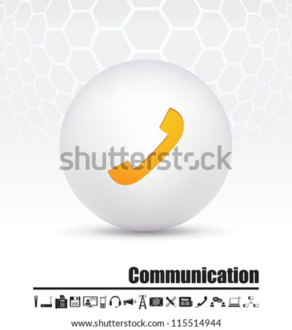Vector icons on the theme of communication - stock vector