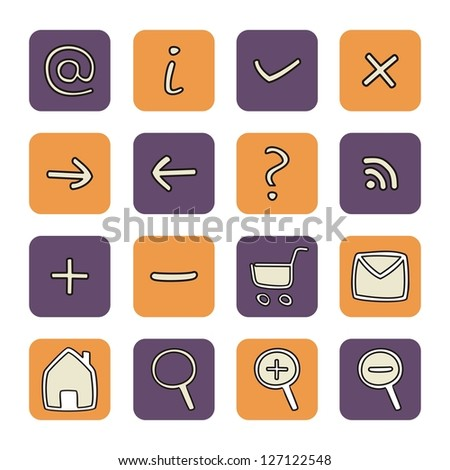 Vector icons or buttons - doodle arrow, home, rss, search, mail, ask, plus, minus, shop, back, forward. Web tools symbols button. Website design violet and orange elements isolated on white background - stock vector