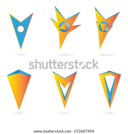 Vector icons or logo. Set markers tags to map isolated on white background. - stock vector