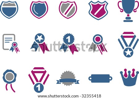 Vector icons pack - Blue-Fuchsia Series, badges collection - stock vector