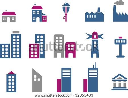 Vector icons pack - Blue-Fuchsia Series, city collection - stock vector