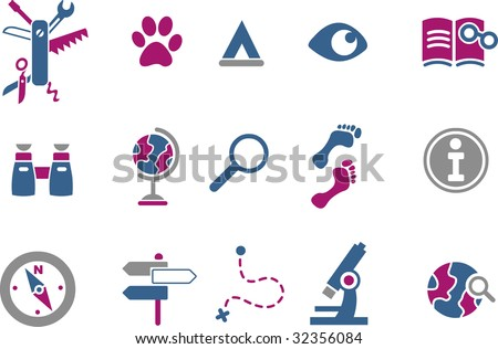 Vector icons pack - Blue-Fuchsia Series, exploration collection - stock vector