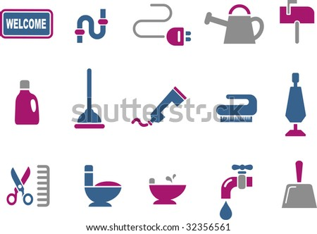 Vector icons pack - Blue-Fuchsia Series, house collection