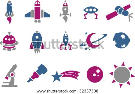 Vector icons pack - Blue-Fuchsia Series, space collection - stock vector