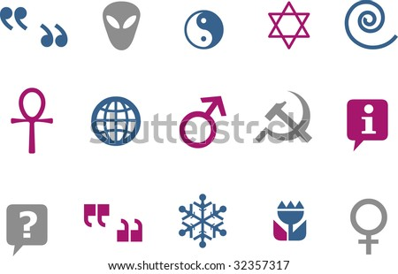 Vector icons pack - Blue-Fuchsia Series, symbols collection
