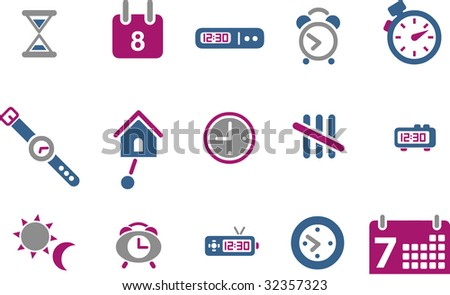 Vector icons pack - Blue-Fuchsia Series, time collection