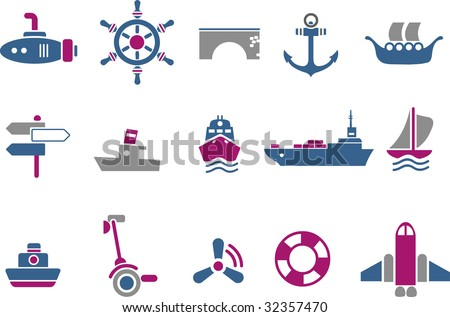 Vector icons pack - Blue-Fuchsia Series, transport collection - stock vector