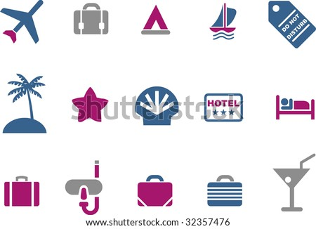 Vector icons pack - Blue-Fuchsia Series, vacation collection - stock vector