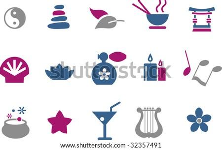 Vector icons pack - Blue-Fuchsia Series, zen collection - stock vector