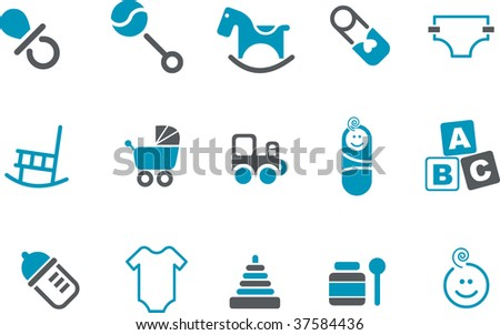 Vector icons pack - Blue Series, babies collection - stock vector
