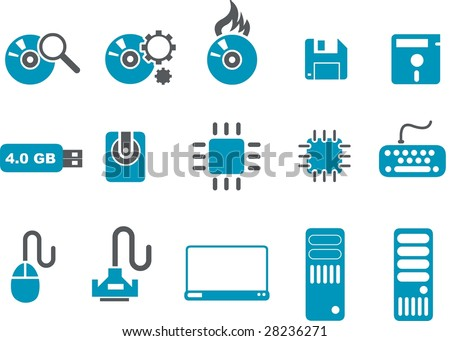 Vector icons pack - Blue Series, computer collection - stock vector