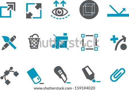 Vector icons pack - Blue Series, draw collection  - stock vector