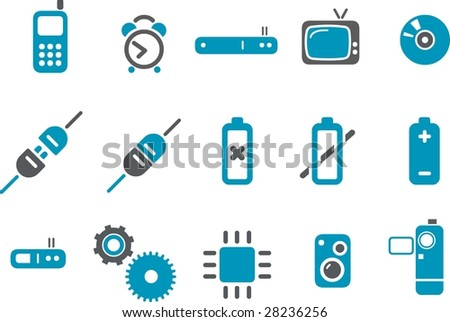 Vector icons pack - Blue Series, electronic collection - stock vector