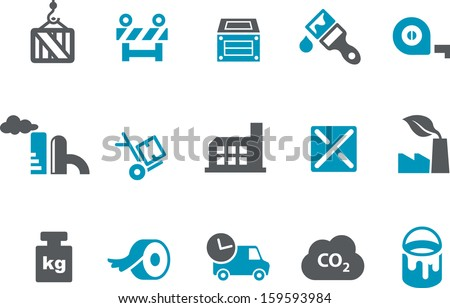 Vector icons pack - Blue Series, factory collection  - stock vector