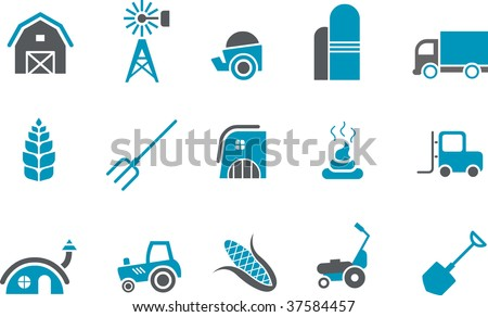 Vector icons pack - Blue Series, farm collection - stock vector