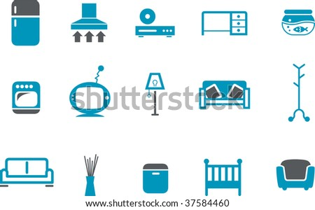 Vector icons pack - Blue Series, furniture collection - stock vector