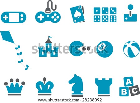 Vector icons pack - Blue Series, game collection - stock vector