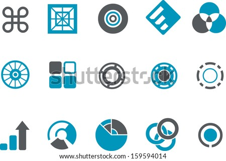 Vector icons pack - Blue Series, graphs collection  - stock vector