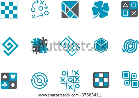 Vector icons pack - Blue Series, jigsaw collection - stock vector