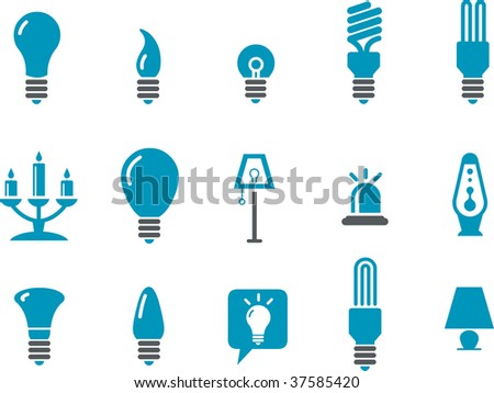 Vector icons pack - Blue Series, lamps collection - stock vector