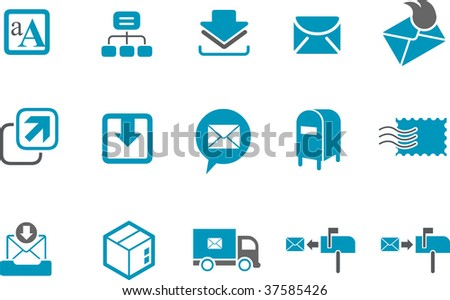 Vector icons pack - Blue Series, mailing collection - stock vector