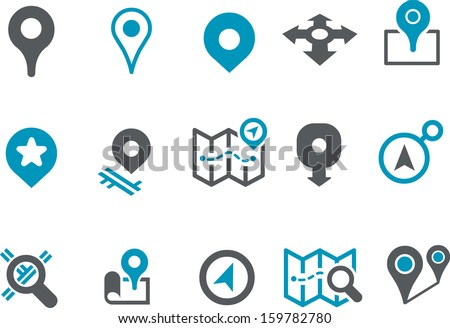 Vector icons pack - Blue Series, maps collection  - stock vector