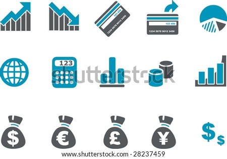 Vector icons pack - Blue Series, money collection