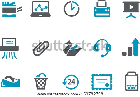 Vector icons pack - Blue Series, office collection  - stock vector
