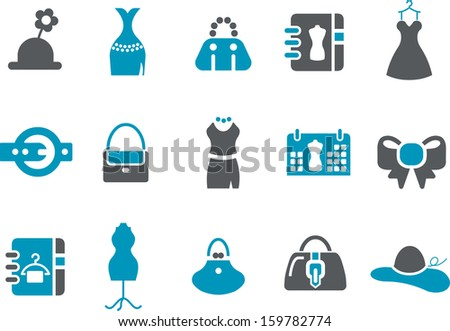 Vector icons pack - Blue Series, outfit-woman collection  - stock vector