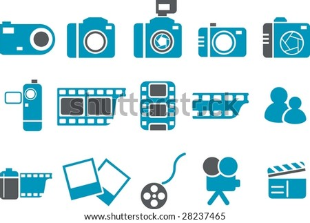 Vector icons pack - Blue Series, photo collection