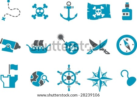 Vector icons pack - Blue Series, pirate collection - stock vector
