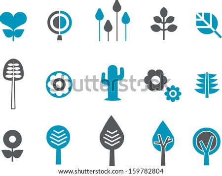 Vector icons pack - Blue Series, plants collection  - stock vector