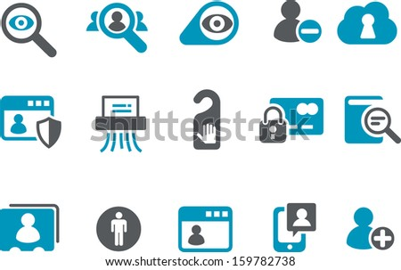 Vector icons pack - Blue Series, privacy collection  - stock vector