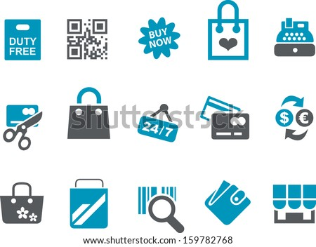 Vector icons pack - Blue Series, shopping collection  - stock vector