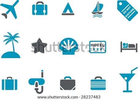Vector icons pack - Blue Series, vacation collection