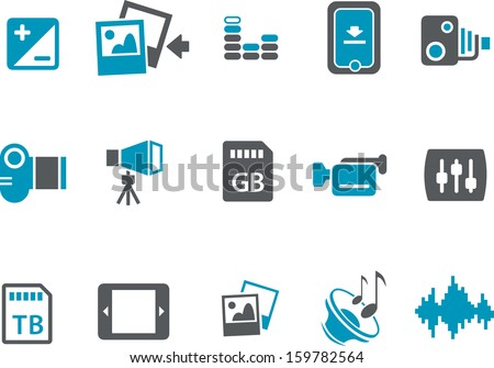 Vector icons pack - Blue Series, video collection  - stock vector