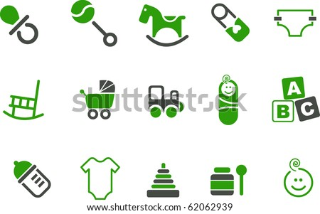 Vector icons pack - Green Series, babies collection - stock vector