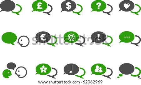 Vector icons pack - Green Series, baloon collection - stock vector